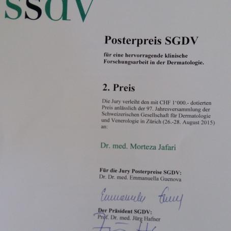 Nov. 2015: Posterpreis am Schweizerischen Jahreskongress für Dermatologie, Mitarbeit Prof. Shafighi