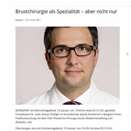 Jan 2017: Zeitungsartikel mit dem renommierten Plastischen Chirurgen PD Dr. med. M. Shafighi