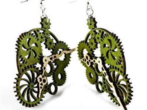 Gear Clock Earrings # 1019
