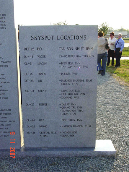 Back of Monument listing all SkySpot sites