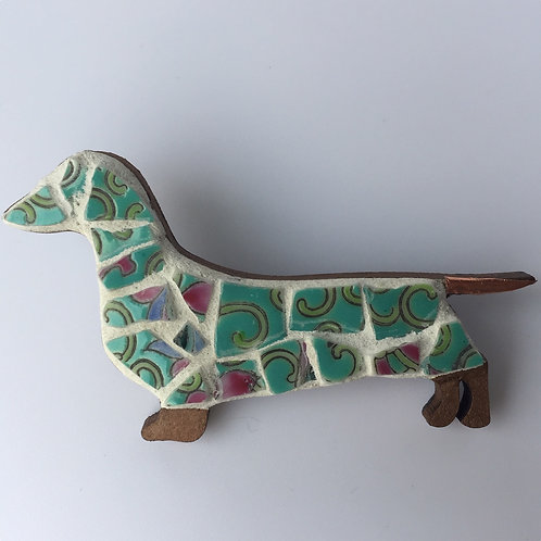 Mosaic Sausage Dog Brooch