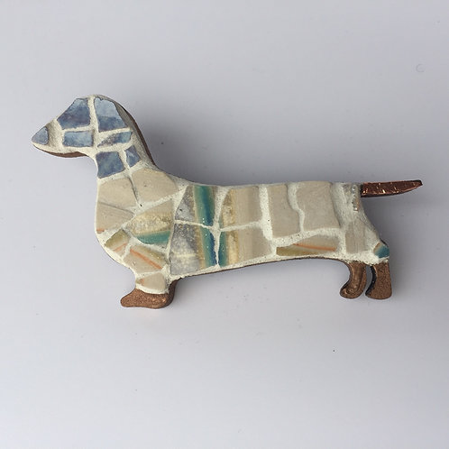 Mosaic Sausage Dog Brooch