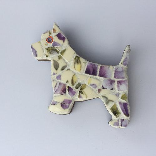 Mosaic Scottie Dog Brooch