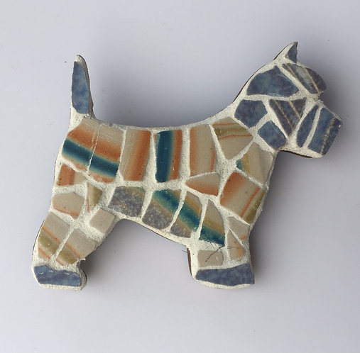 Mosaic Scottie Dog Brooch