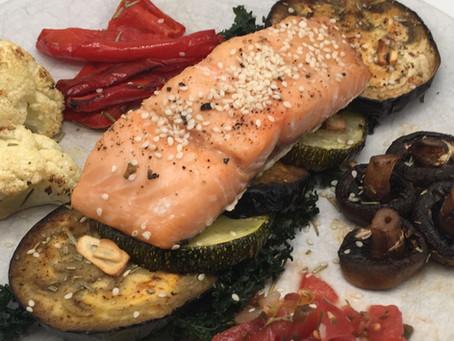Wild Alaskan salmon with roasted vegetables