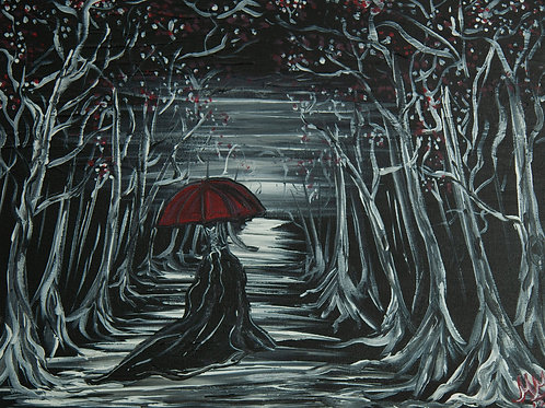 Red Umbrella Collection Forest Scene