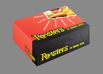 Roosters chain restaurans logo, concept art, prints and packaging