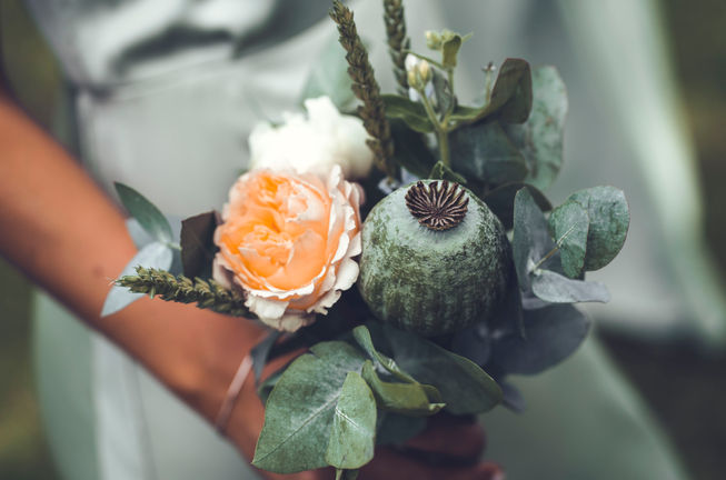 Brudbukett fotad av bröllopsfotograf Leon Jiber
