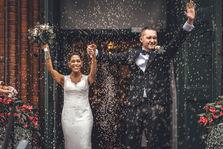 Fantastisk bröllopsbild i riskastning