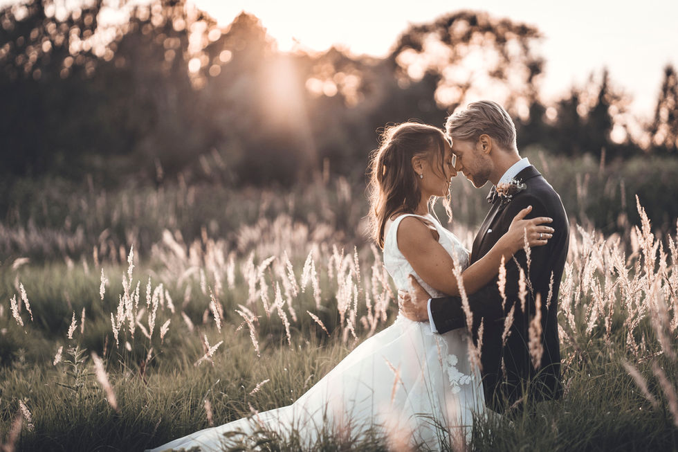 Vacker bröllopsbild i Krägga Herrgård