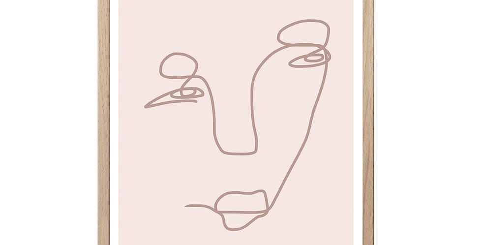 Pink Portrait -  Line Art Print
