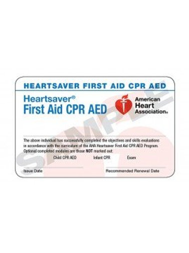 Heartsaver First Aid CPR AED Card