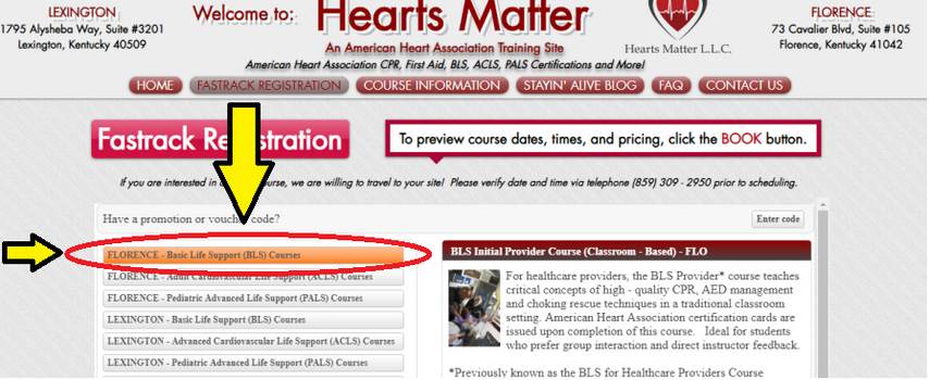 Step #2: Select Preferred Course & Location.