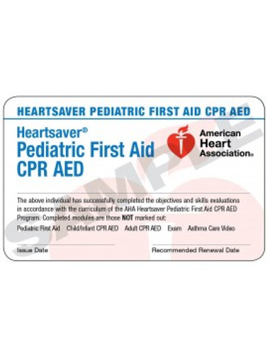 Heartsaver Pediatric First Aid CPR AED Card