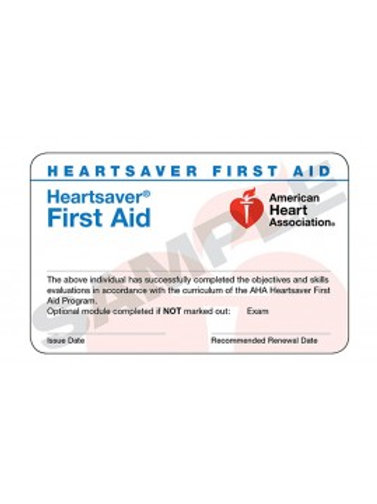 Heartsaver First Aid Card