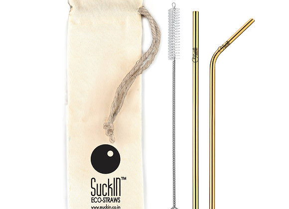 Gold Coloured Steel Straws -Packet of 2 Straight & Bent