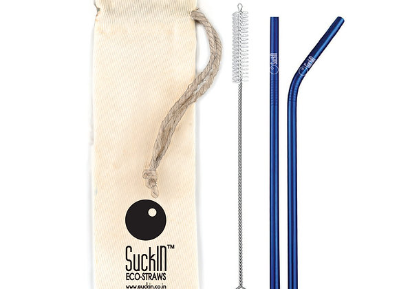 Blue Steel Straws -Packet of 2 Straight & Bent