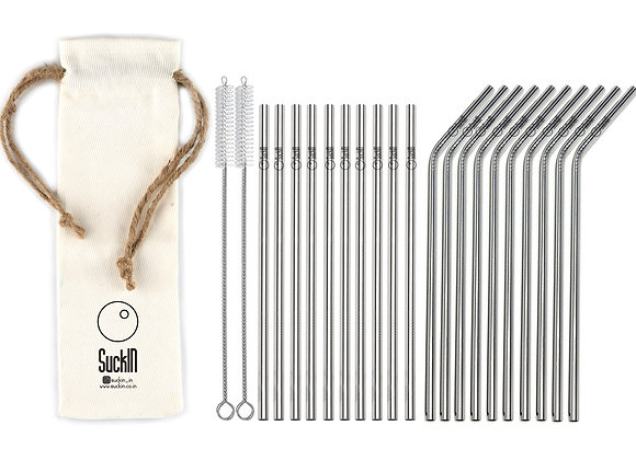 Steel Straws - Packet of 20 Straight & Bent