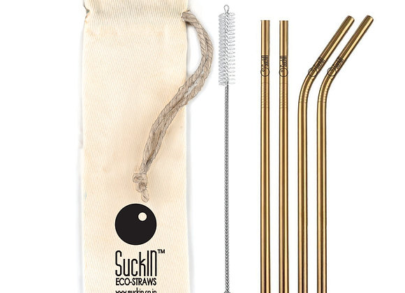 Rose Gold Steel Straws -Packet of 4 Straight & Bent