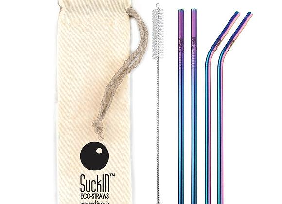 Rainbow Steel Straws -Packet of 4 Straight & Bent