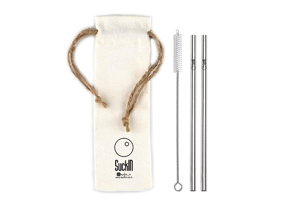 Steel Straws -Packet of 2 Smoothie/ Shake Straws Straight