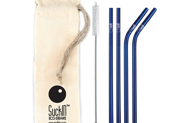 Blue Steel Straws -Packet of 4 Straight & Bent