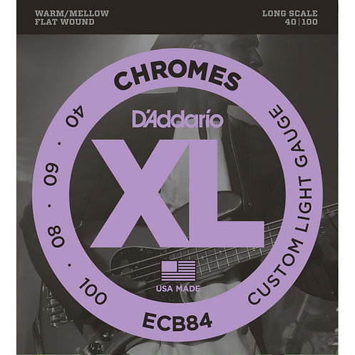 D'Addario ECB84 Chromes Bass Guitar Strings, Custom Light (40-100)