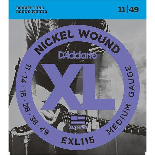 D'Addario EXL115 Nickel Wound Electric Guitar - Medium/Blues-Jazz (11-49)