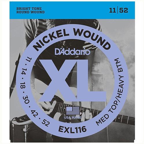 D'Addario EXL116 Nickel Wound Electric Guitar - Med Top/Heavy Bottom (11-52)