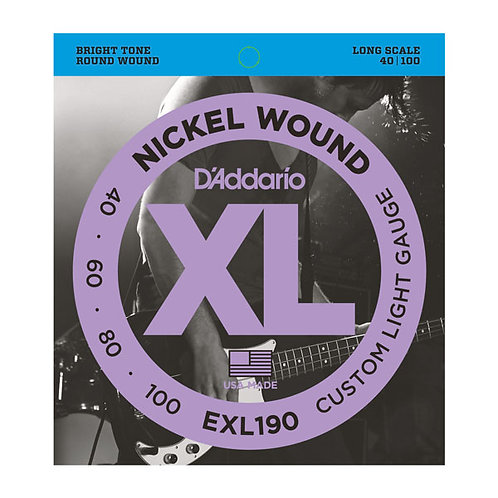 D'Addario EXL190 Nickel Round Wound Electric Bass - Custom Light (40-100)