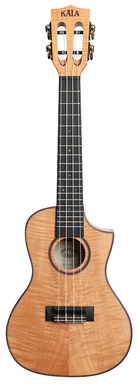 KALA - Solid Flame Maple Concert Ukulele, with Cutaway and Case