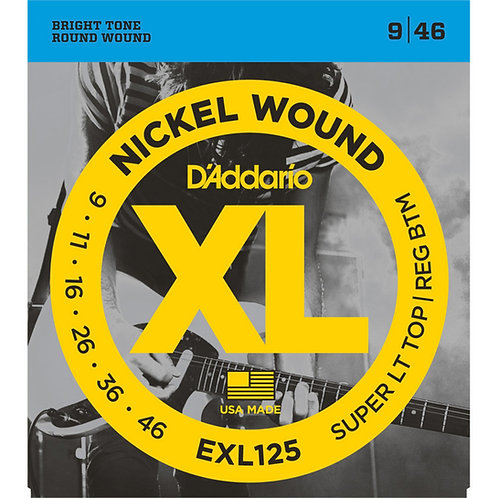 D'Addario EXL125 Nickel Wound Electric Guitar - Super LT Top/ REG BTM (9-46)