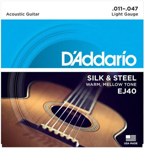 D'Addario EJ40 Silk & Steel Acoustic Guitar Strings - Light (11-47)