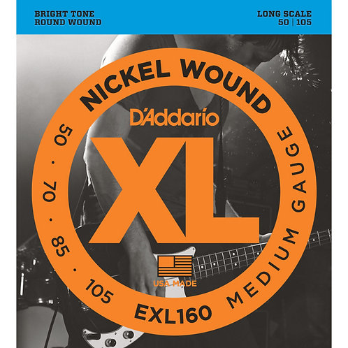D'Addario EXL160 Nickel Round Wound Electric Bass - Medium Gauge (50-105)