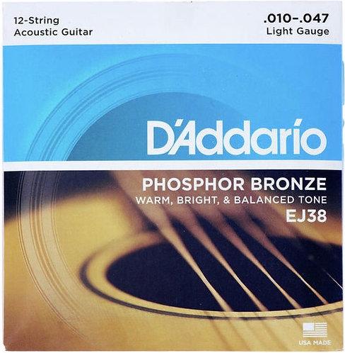 "D'Addario EJ38 Phosphor Bronze Acoustic Guitar ""12-String"" - Light (10-47)"