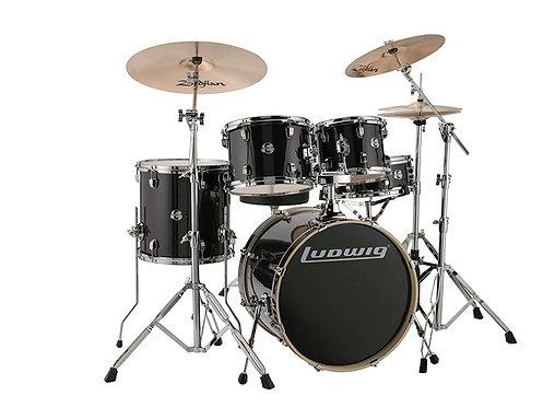 Ludwig Evolution 20'' 5pc Drum Kit inkl. Hardware, Black Sparkle