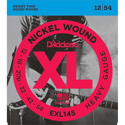 D'Addario EXL145 Nickel Wound Electric Guitar Strings - Heavy, Plain 3rd (12-54)