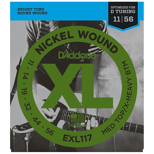 D'Addario EXL117 Nickel Wound Electric Guitar - Med Top/Extra Heavy Btm (11-56)
