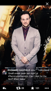 Musician Richard Hadfield wearing Ted Baker to the Terminator Genisys premiere in London in, 2015