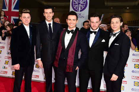 Musical group Collabro wearing Aquascutum to the Pride of Britain Awards, 2015