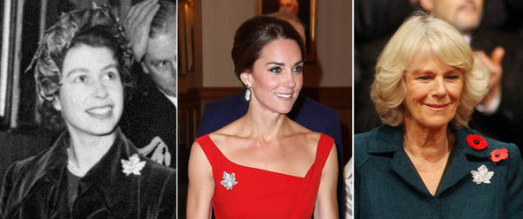 Queen Elizabeth, Catherine Dutches of Cambridge and Camilla Dutches of Cornwall wearing the Maple Leaf 'Canada' Pin