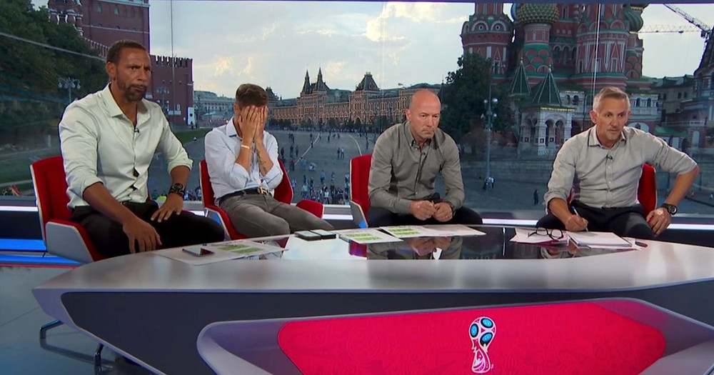 Gary Lineker with his world cup panel in Moscow