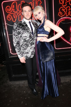 Musicians Richard Hadfield & Ivy Mae wearing Ted Baker and Bekki Brennan at the Rise of the Footsoldier London premiere, 2017