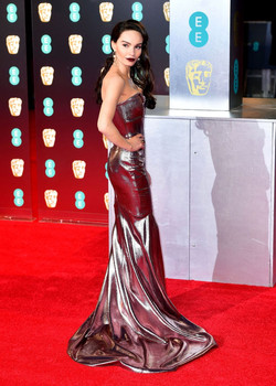 Actress Ava West wearing Roland Mouret for the BAFTAs, 2017