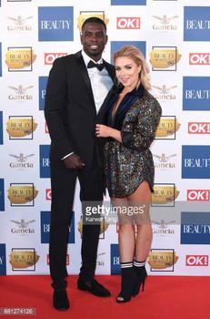Reality Stars Marcel Somerville & Gabby Allen wearing Ashley Isham at the OK! Beauty Awards, 2018