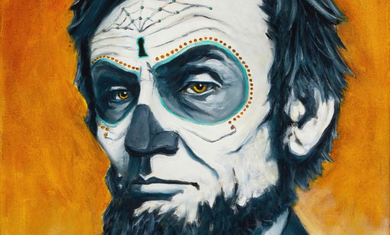 SOLD Abraham Lincoln with Orange, Dia de Los Muertos