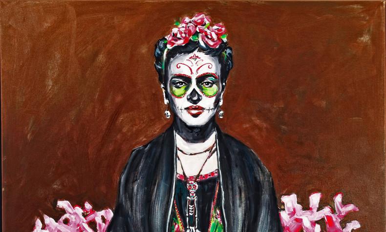Frida Kahlo with Pink Flowers, Dia de Los Muertos