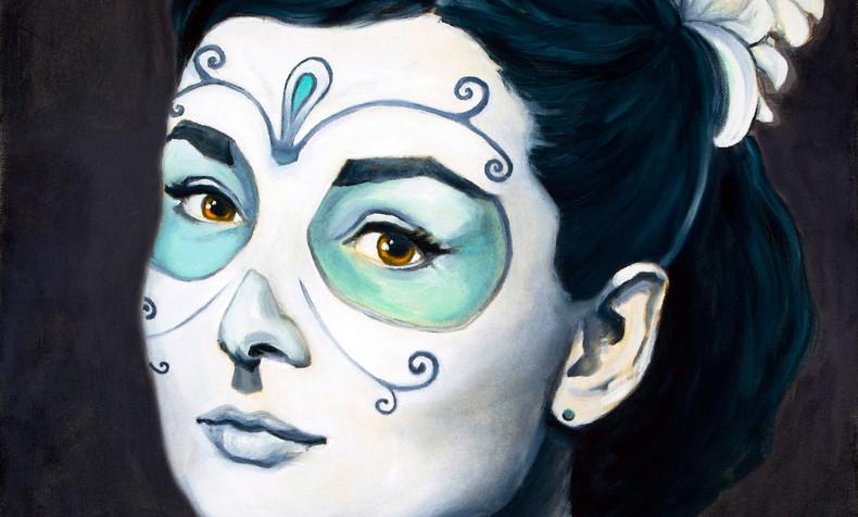 SOLD. Audrey Hepburn, Dia de Los Muertos