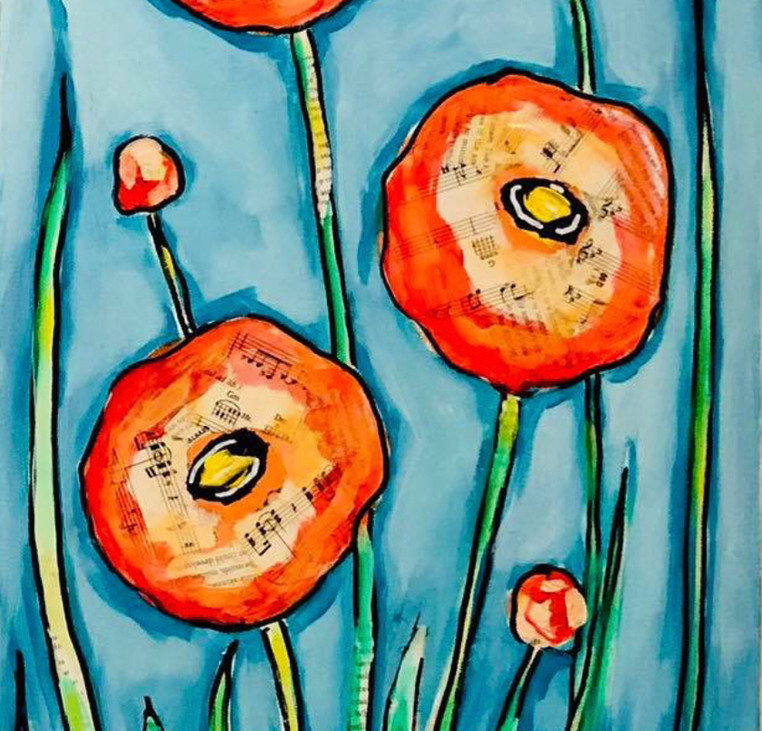 Flower Study in Orange and Turquoise