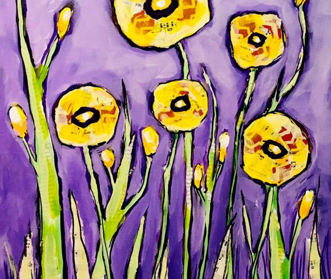 Flower Study in Yellow and Purple